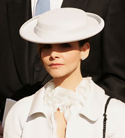 Clotilde Courau wore a chic light-gray hat at the Monaco National Day celebrations.