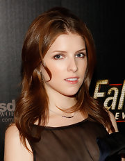 Anna Kendrick styled her locks with subtly wavy layers for the 'Fallout: New Vegas' launch party.