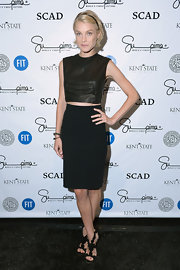 Jessica Stam completed her all-black outfit with a pair of statement heels.