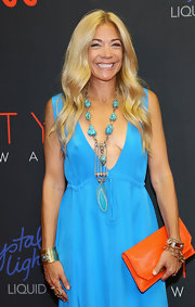 Ramy Sharp adorned her decollete dress with a chunky turquoise statement necklace when she attended the Style Awards.