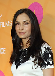Famke Janssen went all natural with barely-there makeup and her layered locks down at the Tropfest New York 2012.