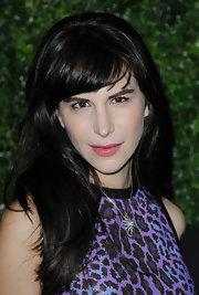 Caroline Sieber left her hair loose with blunt bangs when she attended the London Evening Standard Theatre Awards.