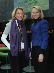 Marissa Mayer covered up in a fitted blue jacket for the DLD conference.