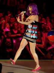 Katy Perry opted for comfy pink ballet flats when she performed on 'Germany's Next Topmodel.'