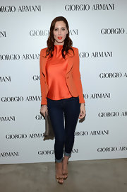 A pair of classic blue cuffed jeans allowed Eva's statement blazer and silk top combination to take center stage.
