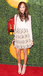For her shoes, Ashley Madekwe chose fierce nude gladiator heels by Herve Leger.