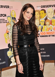 Katie Holmes paired her chic LBD with a matching leather belt for the New York Observer 25th anniversary party.