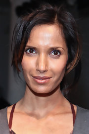Padma Lakshmi was seen at the Costello Tagliapietra fashion show rocking a messy ponytail.