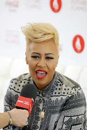 Emeli Sande styled her hair into a side-swept fauxhawk for the Olympic Torch Relay.