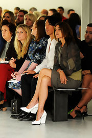 Carine Roitfeld attended the Rodarte fashion show wearing a pair of chunky-heeled white pumps.