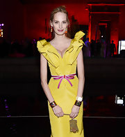 Lauren Santo Domingo accessorized with a gold chainmail purse during the Apollo Circle Benefit.