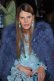 Anna dello Russo was in a blue mood during the Missoni fashion show, teaming dangling turquoise earrings with an outfit in different shades of blue.