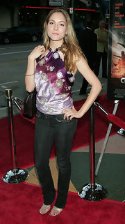Brooke Nevin wore a beautiful purple halter top to the 'Mutant Chronicles' premiere.