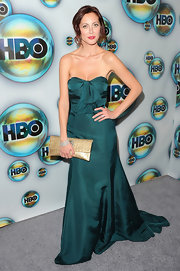 This teal bow-bodice detail dress was a stunning choice for Eva at HBO's Post 2012 Golden Globe Awards Party.