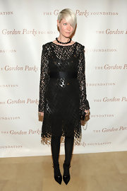 Kate Lanphear chose an edgy-glam meshwork LBD for the Gordon Parks Foundation Awards.