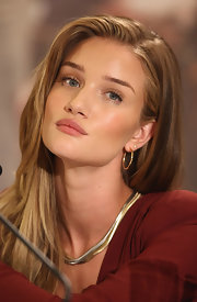 Rosie Huntington-Whiteley looked very classy wearing this layered gold necklace at the 'Transformers 3' press conference in Germany.