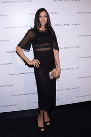 Famke Janssen was elegantly dressed in a sheer LBD at the 2013 National Board of Review Awards.