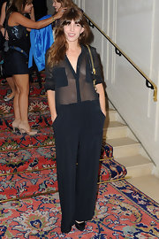 Lou Doillon looked provocative in a sheer-bodice jumpsuit during the Kate Moss for Fred jewellery launch.