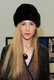 Joanna Hillman was winter-chic in a black fur hat during the Brood fashion show.