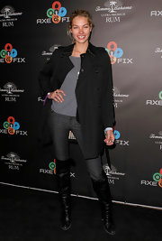 Jessica Hart was edgy-classic in a black trenchcoat during the Axe Fix Club event.