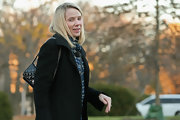 Marissa Mayer arrived for a meeting at the White House carrying a chic quilted patent bag by Chanel.