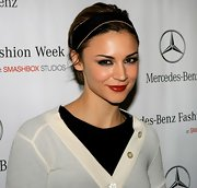 Samaire Armstrong sported a short, brushed-back 'do while hitting the shows during Mercedes-Benz Fashion Week.
