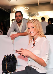 Jessica Stam was the perfect model for this chain-strap bucket bag she designed for Rachel Roy.