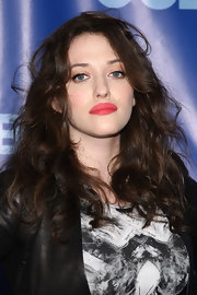 Kat Dennings attended the CBS Upfront wearing a very bright pink pout.