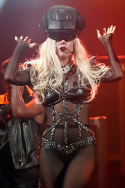 Lady Gaga performed at the iHeartRadio Music Festival wearing a captain's cap and a studded bodysuit.