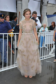 Kasia Smutniak looked like a fairytale princess in her beaded nude Valentino gown during the 'E Stato Il Figlio' premiere.