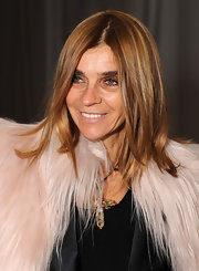 Carine Roitfeld styled her hair in piecey layers for Mercedes-Benz Fashion Week.