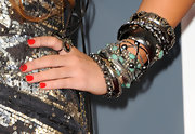 Miley Cyrus loaded up on the bling for the Grammys, including some diamond and turquoise bangles by Lorraine Schwartz.