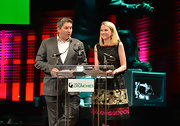 Marissa Mayer looked very classy in a sequined, mixed-pattern cocktail dress during the 2012 Crunchies.