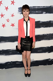 Sami Gayle topped off her ensemble with a simple black box clutch.