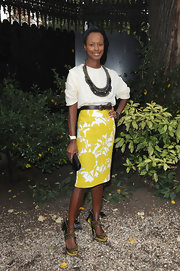 Shala Monroque added major edge to her look with a pair of studded yellow heels.