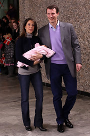 Princess Marie was casual in a pair of bootcut jeans while introducing her new baby boy to the press.
