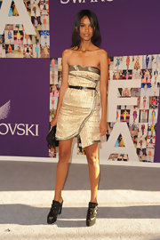 Liya Kebede looked sassy at the CFDA Fashion Awards in a strapless gold mini by Proenza Schouler.