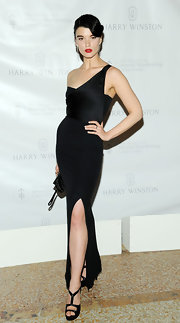 Crystal Renn complemented her dress with strappy black heels.