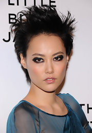Rinko Kikuchi went punk with this messy short cut at the Chanel: Little Black Jacket event.
