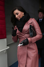 Eva Longoria looked super cozy in black leather gloves and a pink coat during Barack Obama's inauguration.