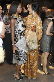 Shala Monroque donned a vibrant mixed-print dress for the MOCA Gala.