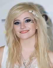 Pixie Lott attended Radio 1's Big Weekend event wearing elaborate eye makeup, complete with hearts on one side.