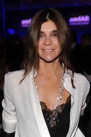 Carine Roitfeld added some sparkle to her look via a diamond chain necklace when she attended the amfAR New York Gala.