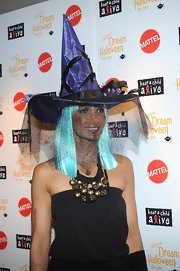 Padma Lakshmi's witch's hat at the Dream Halloween party looked oh-so-cute with its spiderweb veil and that crow perched on the brim.