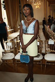Shala Monroque showed plenty of skin with this white mini and blue crop-top combo at the Giambattista Valli fashion show.