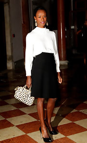 Shala Monroque kept it classic all the way down to her black patent platform pumps.