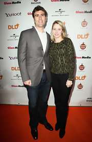 Marissa Mayer kept it casual on the DLD Starnight red carpet in basic black slacks.