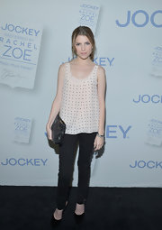 Anna Kendrick teamed a breezy polka-dot blouse with skinny jeans for the launch of 'Major Must Haves.'