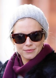 Sienna Miller looked toasty in her Burberry knit beanie while attending the Sundance Film Festival.
