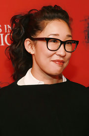 Sandra Oh looked adorable with her curly ponytail at the 'Angels in America: A Gay Fantasia on National Themes' opening party.